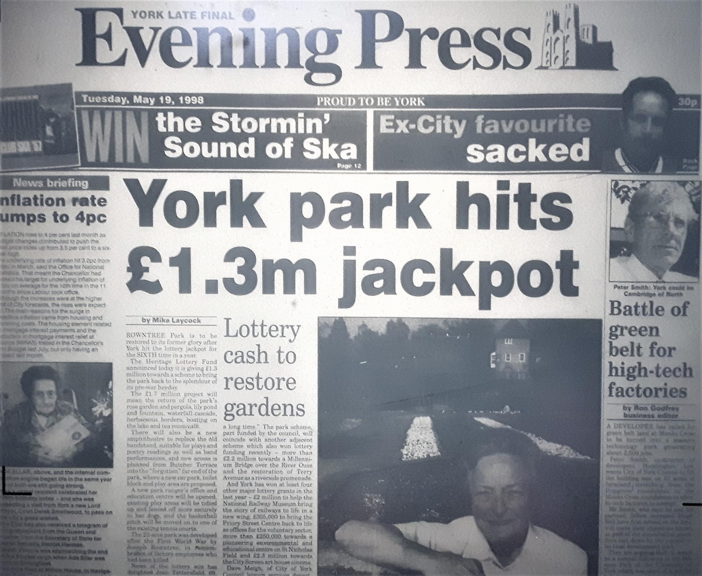 The Evening Press front page from May 19, 1998