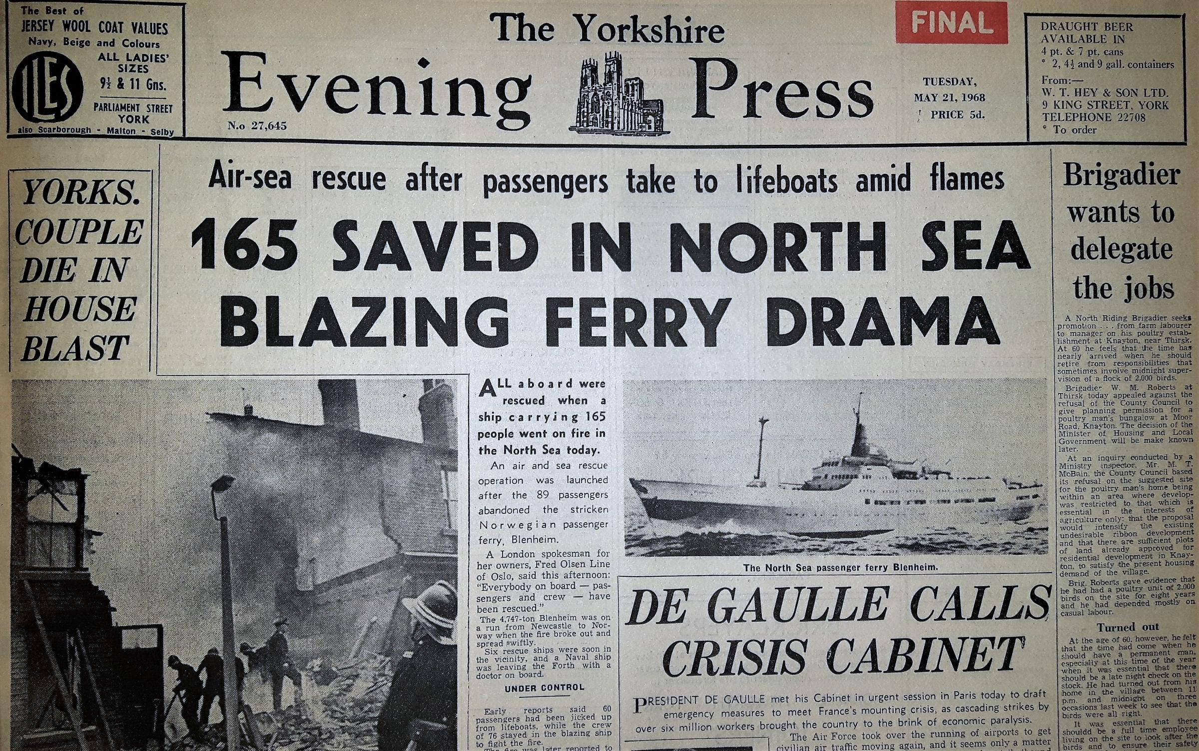 The Yorkshire Evening Press front page from May 21, 1968