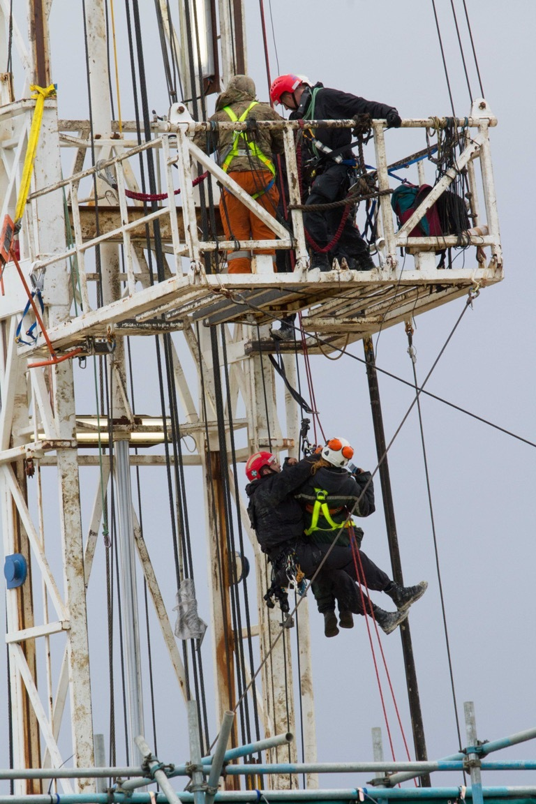 The last two protestors are brought down from the rig at the Kirby Misperton fracking site