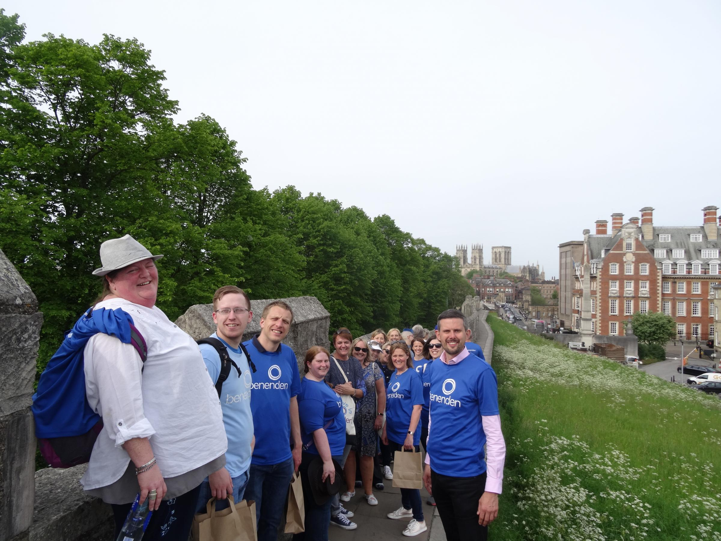 Walking proud, Benenden staff at the start of their walk round the Bar Walls for York Mind