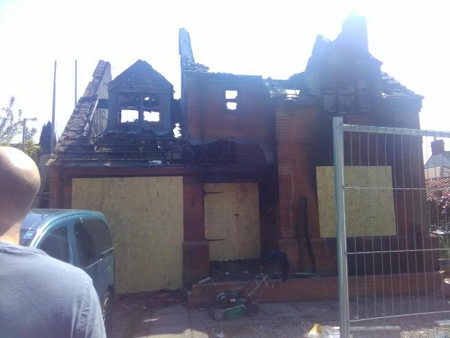 DAMAGE: The burnt-out shell of Tracy Brownridge's home.