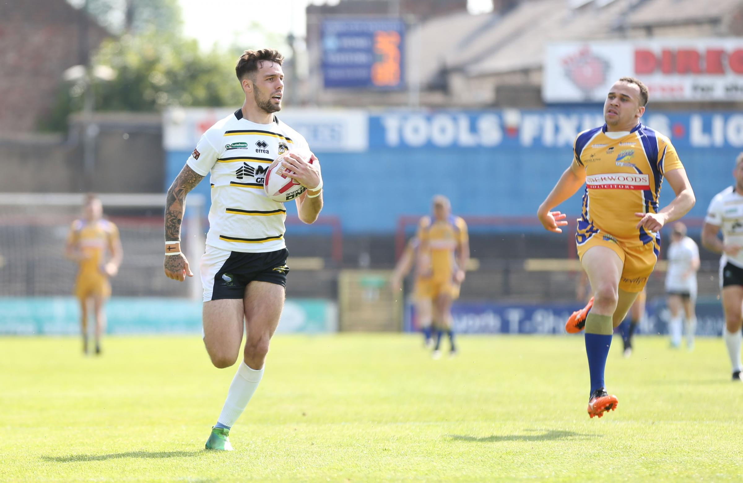 Will Dagger races the length of the field for a standout try in York City Knights' 90-0 romp against Hemel Stags at Bootham Crescent. Picture: Gordon Clayton
