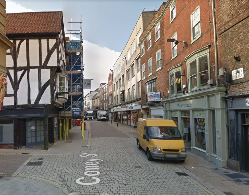 Burglars broke in to an office on the corner of Coney Street and New Street
