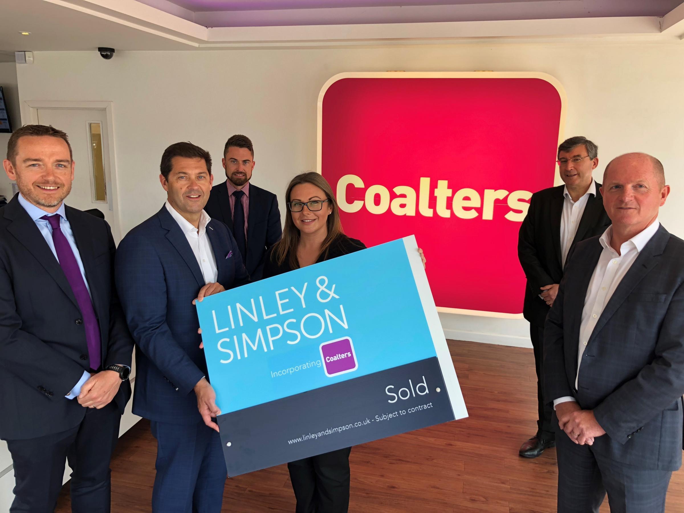 From left Reuben Barrett, founder of Coalters, with Linley & Simpson's Nick Simpson, Mark Sheridan, Vicki Mulroney, Mark Christopher and Will Linley.