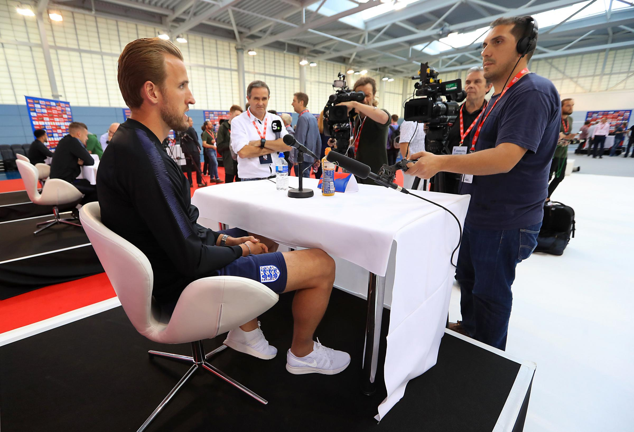 England's Harry Kane speaks during this week's media day at St George's Park