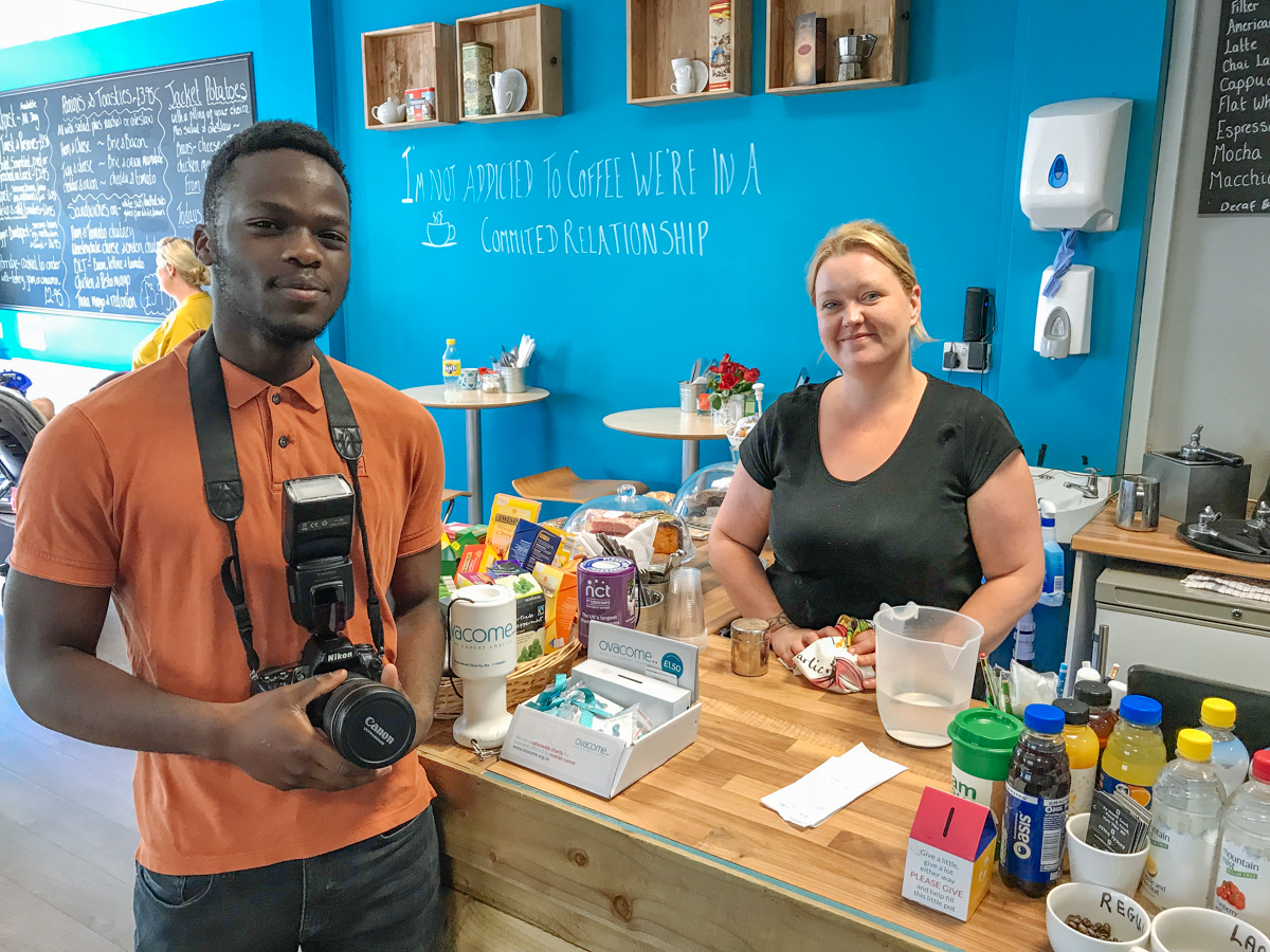 Art Camp's Herve Ishimwe Ntwali with Vicky Milbourn, from the Chill in the Community cafe in Front Street, Acomb