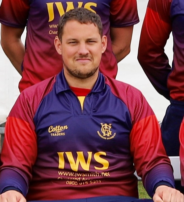 Woodhouse Grange captain James Finch showcases the team's new T20 kit, provided by JWS Accountants