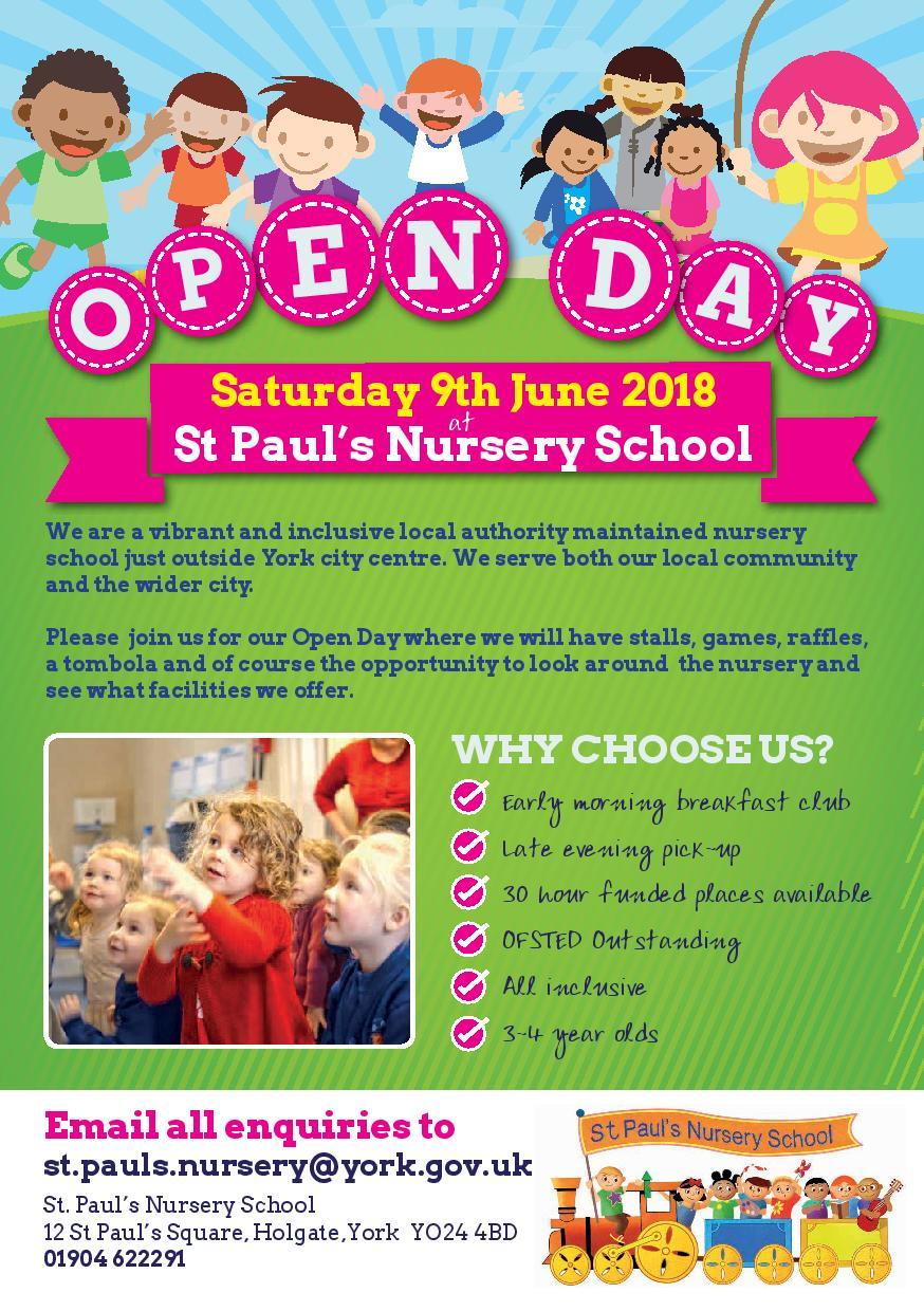 St Paul's nursery school in Holgate is having an open day after getting an outstanding Ofsted report