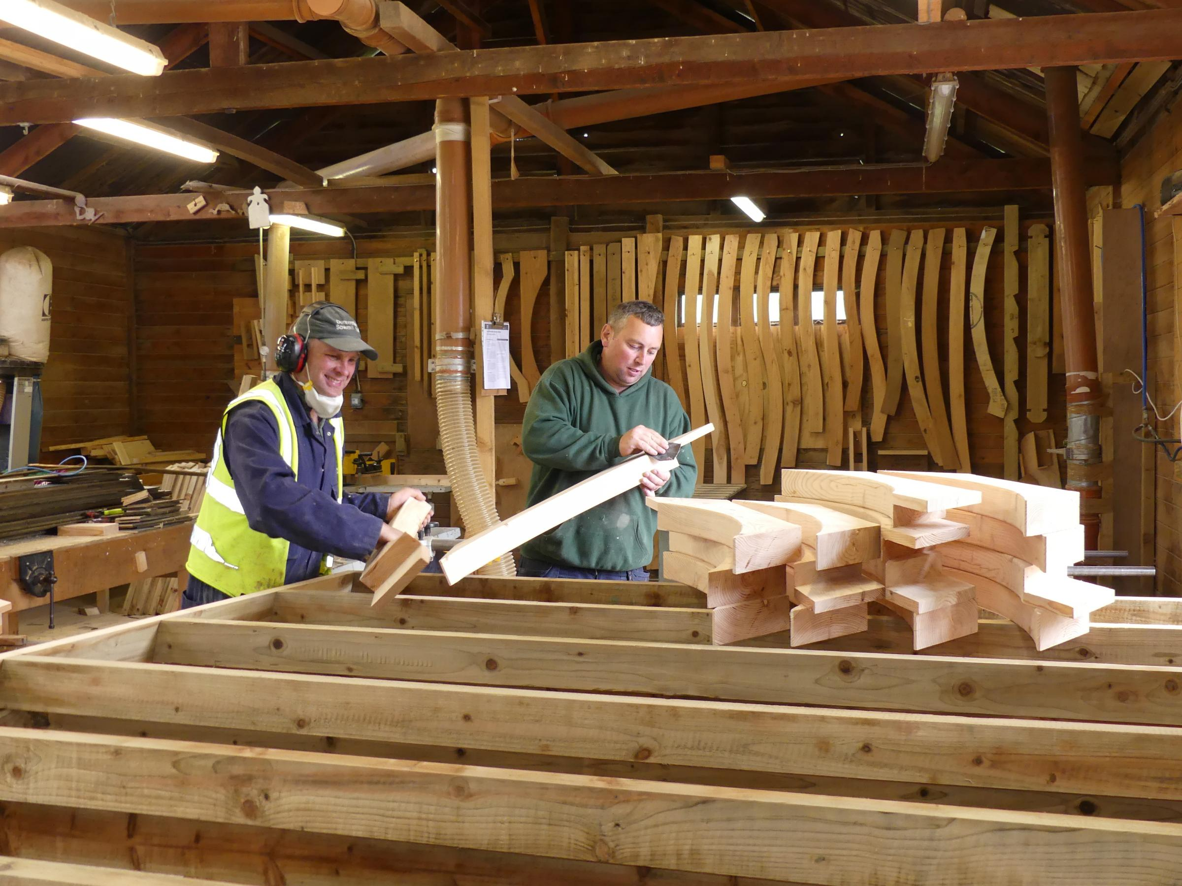Duncombe Sawmill joiners Eddie Garbutt and Steve Shepherd work on the buildings for the Shakespeare Rose Theatre at the Helmsley workshop