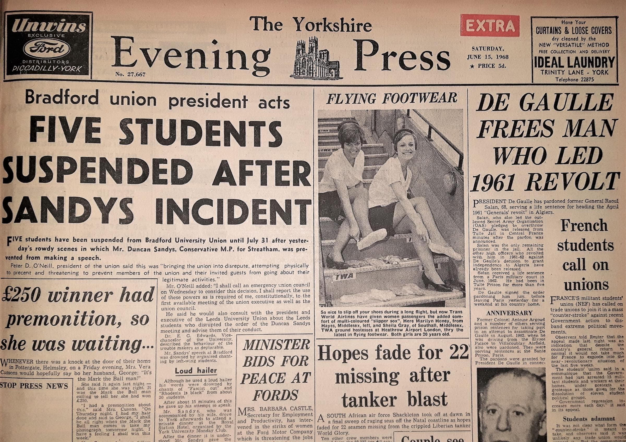 The Yorkshire Evening Press front page from June 15, 1968