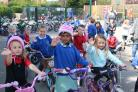 Children from Clifton Green Primary School celebrate success in the Sustrans Big Pedal event