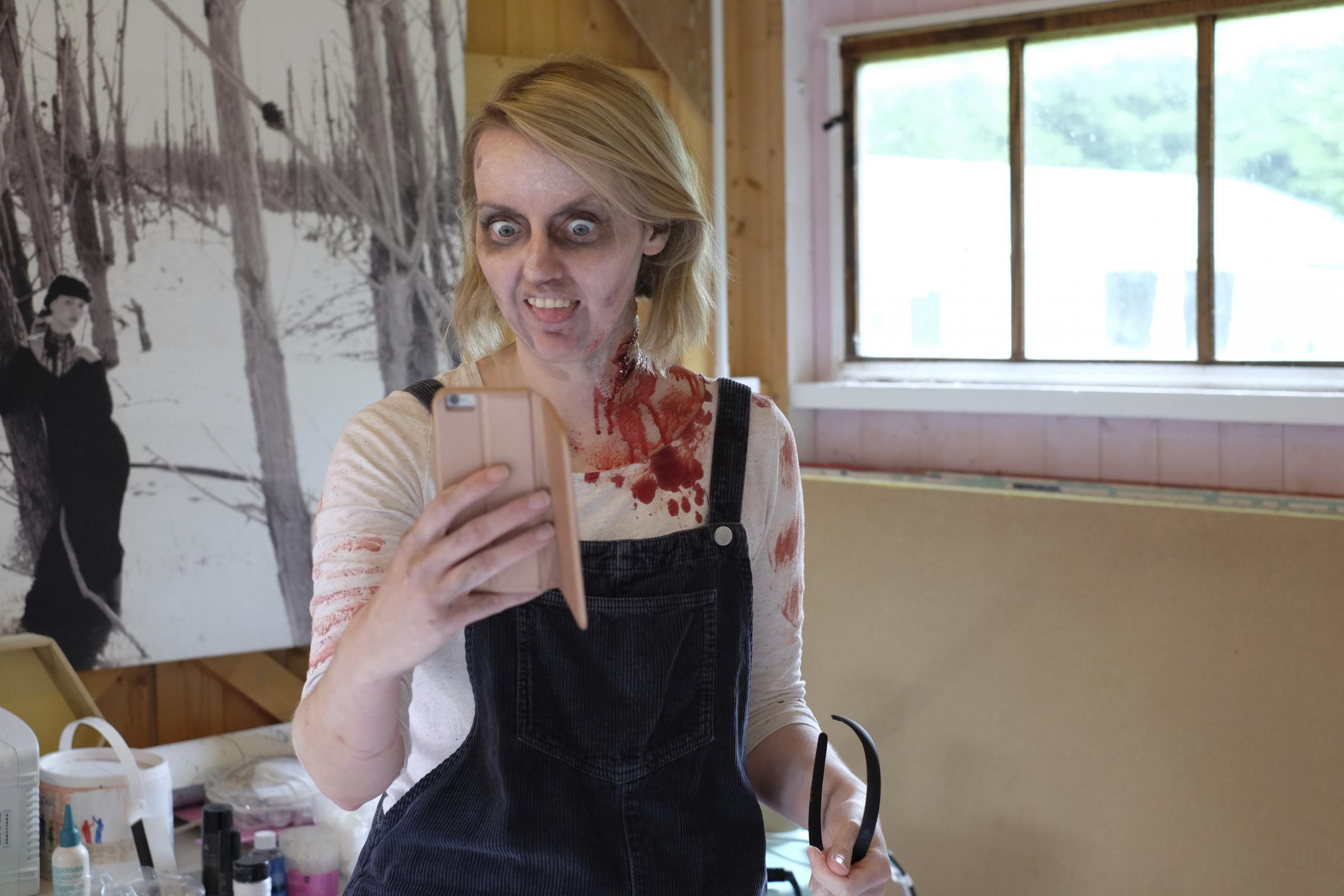 Zombie alert: Helen Semple as a zombie in MilesTone Films' Zomblog. Piture: