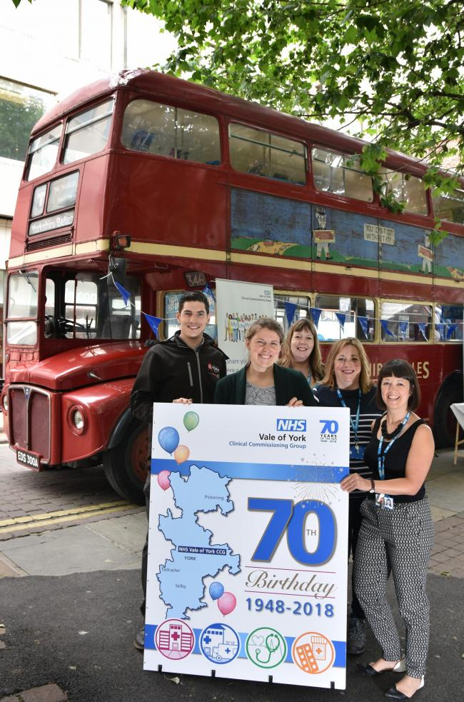 NHS AT 70: York Central MP, Rachael Maskell, at the NHS 70th Anniversary Celebration in Parliament Street, York with (l-r), Joe Royce, Holly Firth-Davies, Heather Simpson and Victoria Hirst    Picture: Frank Dwyer