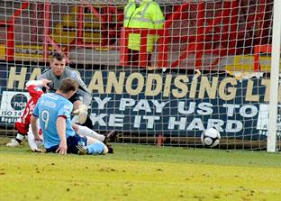 York City striker Daniel McBreen goes close
