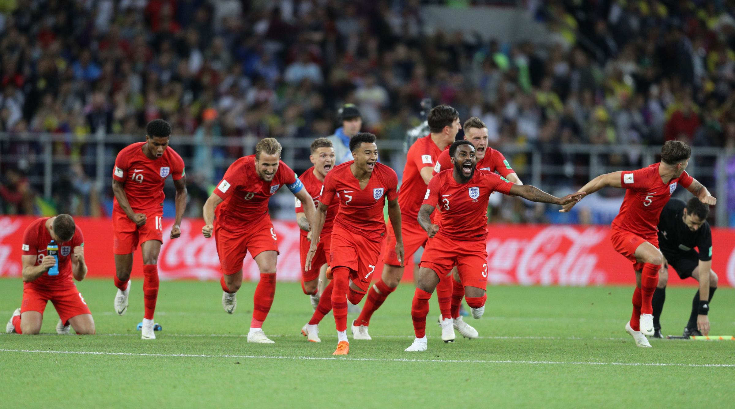 England celebrate after beating Colombia on penalties at the World Cup