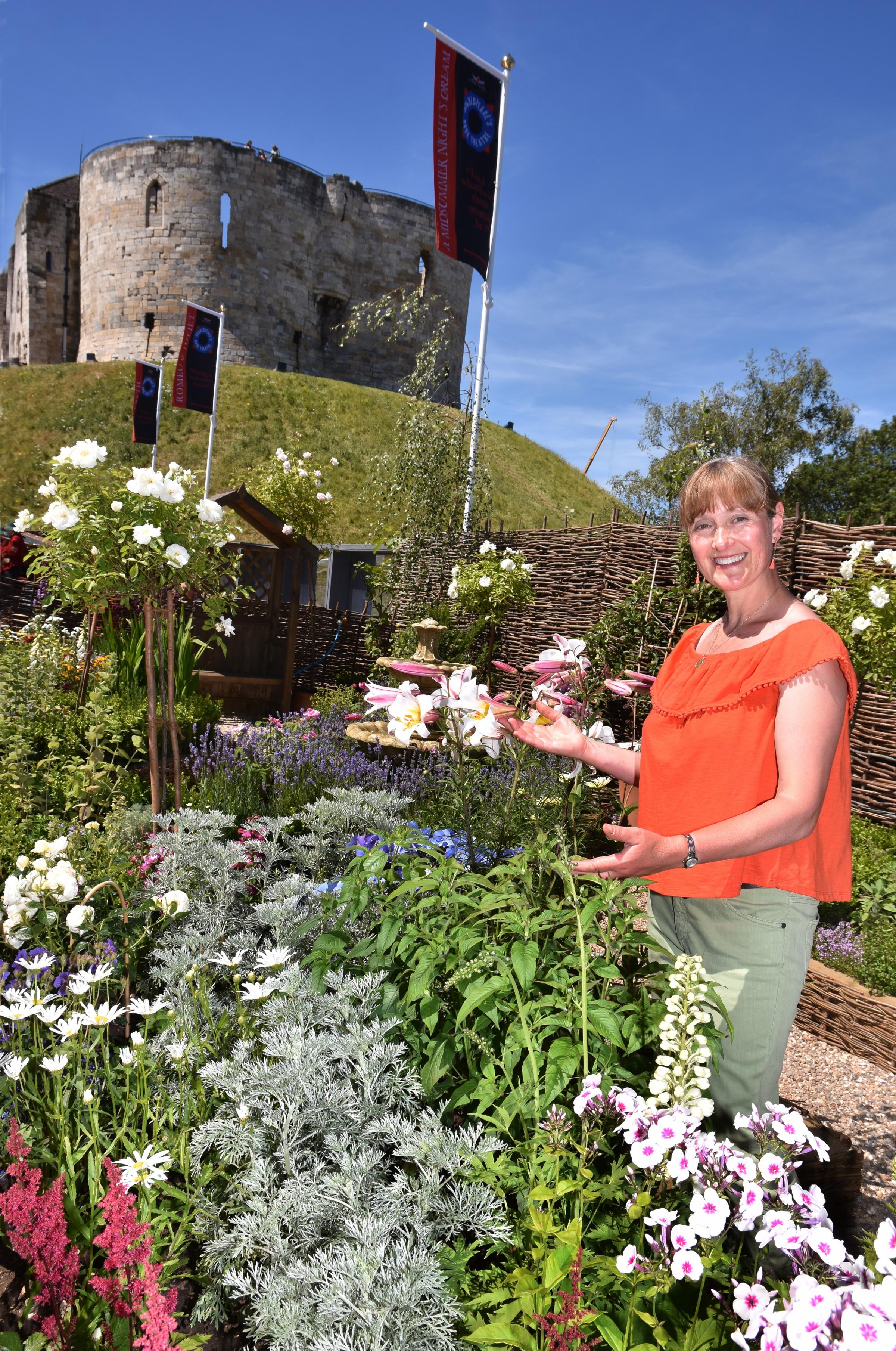 In full  bloom: York  garden designer Sally Tierney in her Elizabethan knot garden at the Rose Theatre Picture: Frank Dwyer