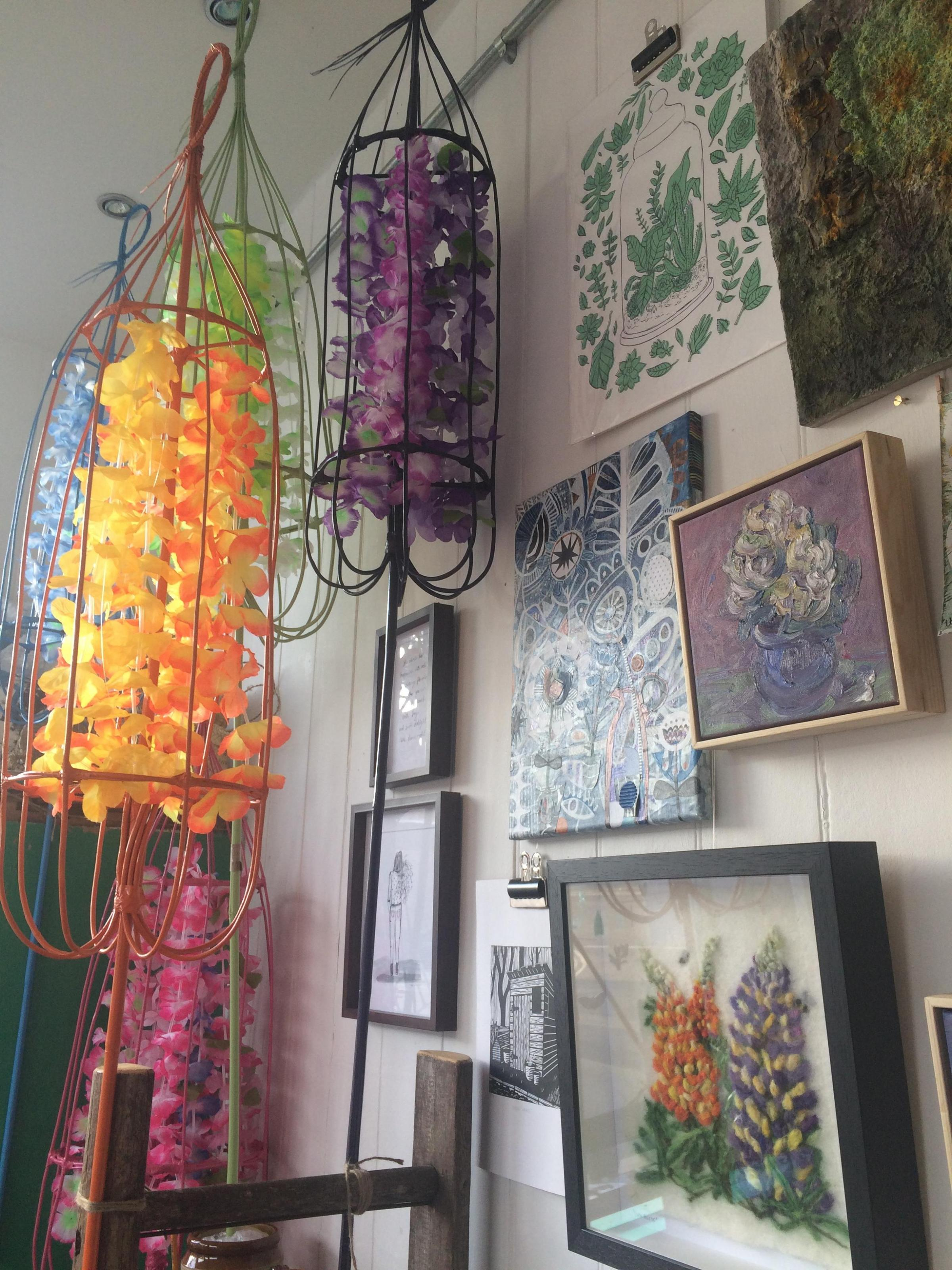 Exhibits in the Flourish show for Bloom! and beyond at Owl  & Monkey in Heslington Road, York