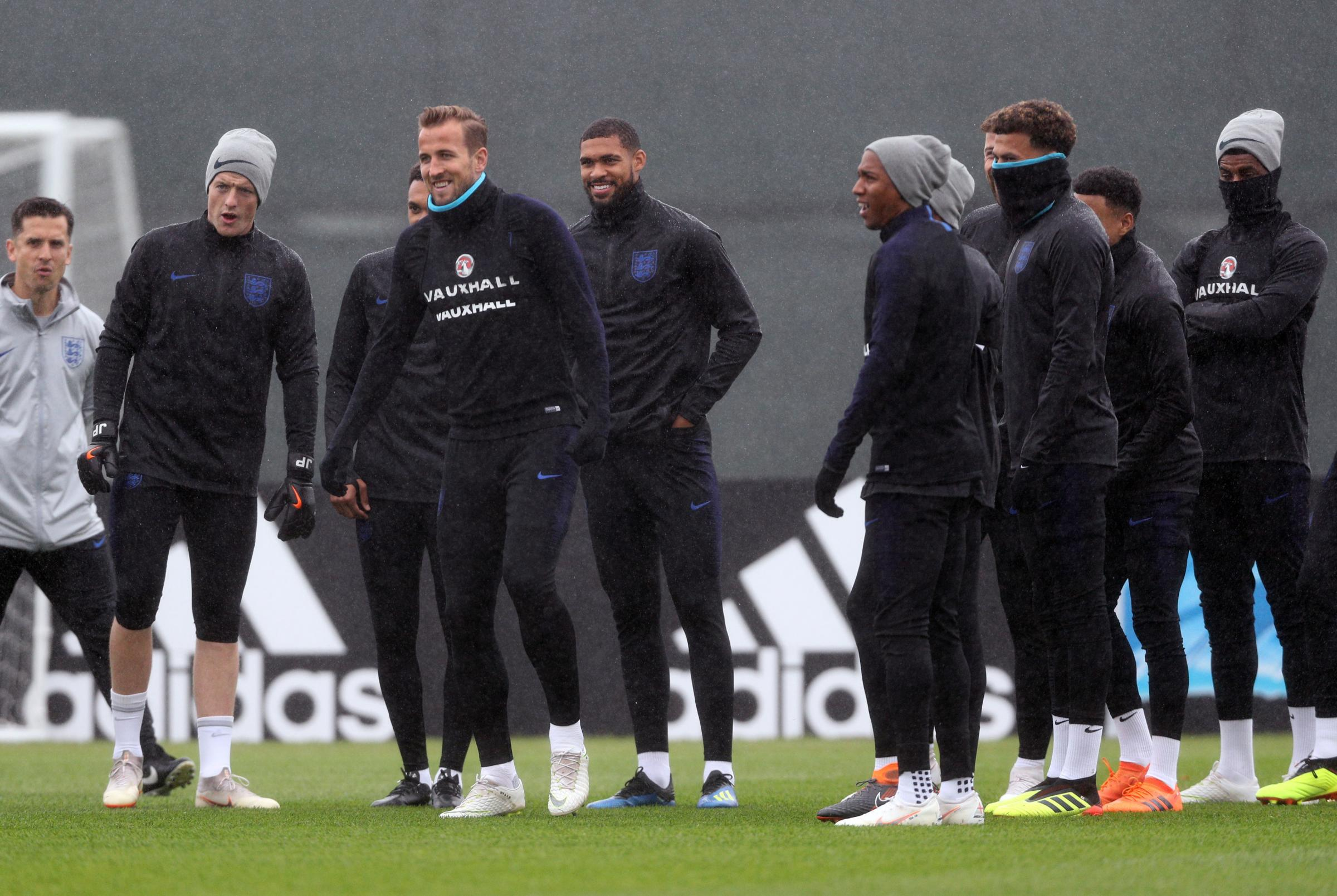 England's Harry Kane and his team-mates during a training session at the Spartak Zelenogorsk Stadium