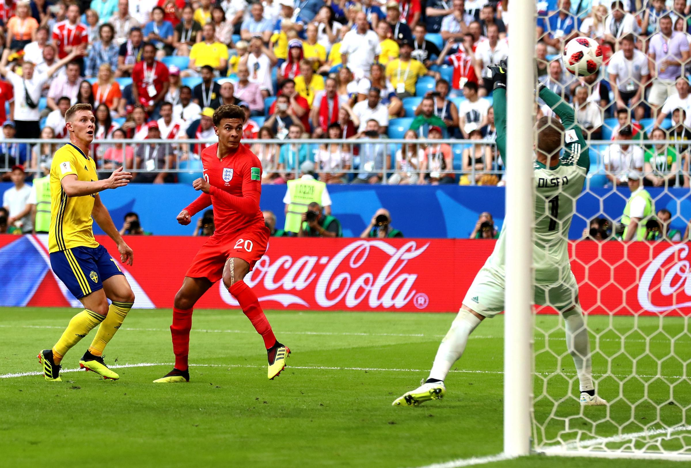 England's Dele Alli scores his side's second goal against Sweden   Picture: Tim Goode/PA