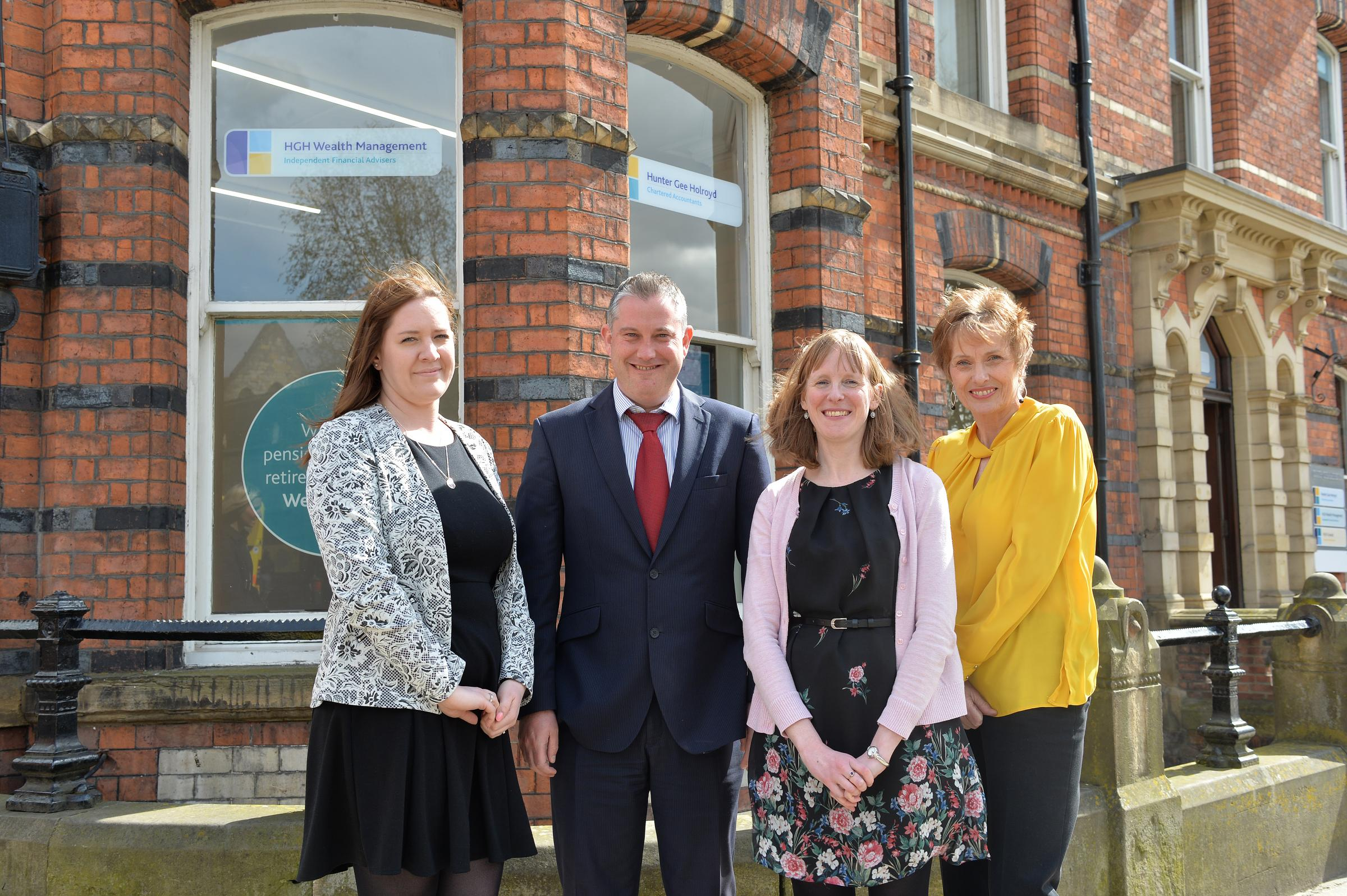 The expanded HGH Wealth Management Team and Nick Lawson, Director at Club Chambers, Museum Street, York.From left to right: Sarah Coldwell, Nick Lawson (Director), Sharon Ward, Susan Ruddick