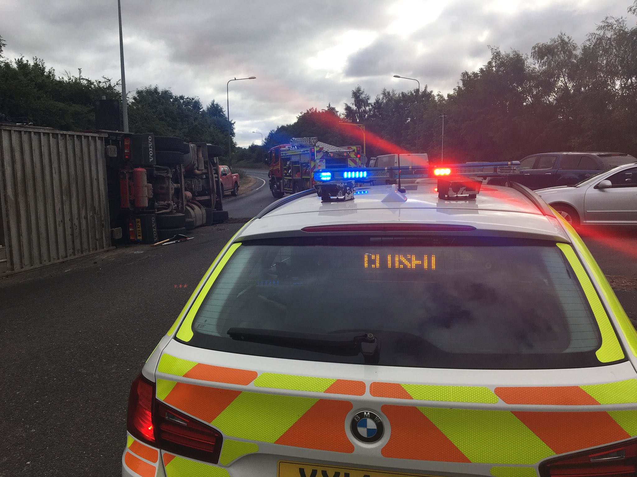 The overturned lorry on the A1079. Picture: Humber Roads Police