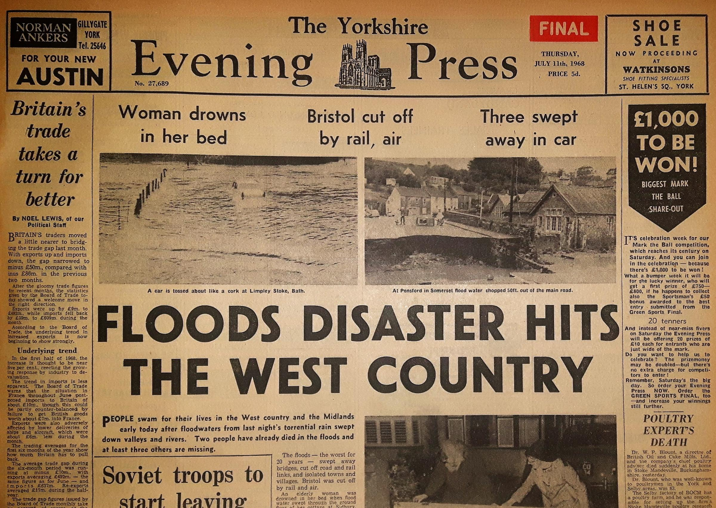 The Yorkshire Evening Press front page from July 11, 1968