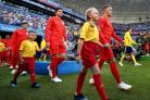 England's Kieran Trippier walks out with a mascot before kick-off in the FIFA World Cup, Quarter Final match at the Samara Stadium. PRESS ASSOCIATION Photo. Picture date: Saturday July 7, 2018. See PA story WORLDCUP Sweden. Photo credit should read: T