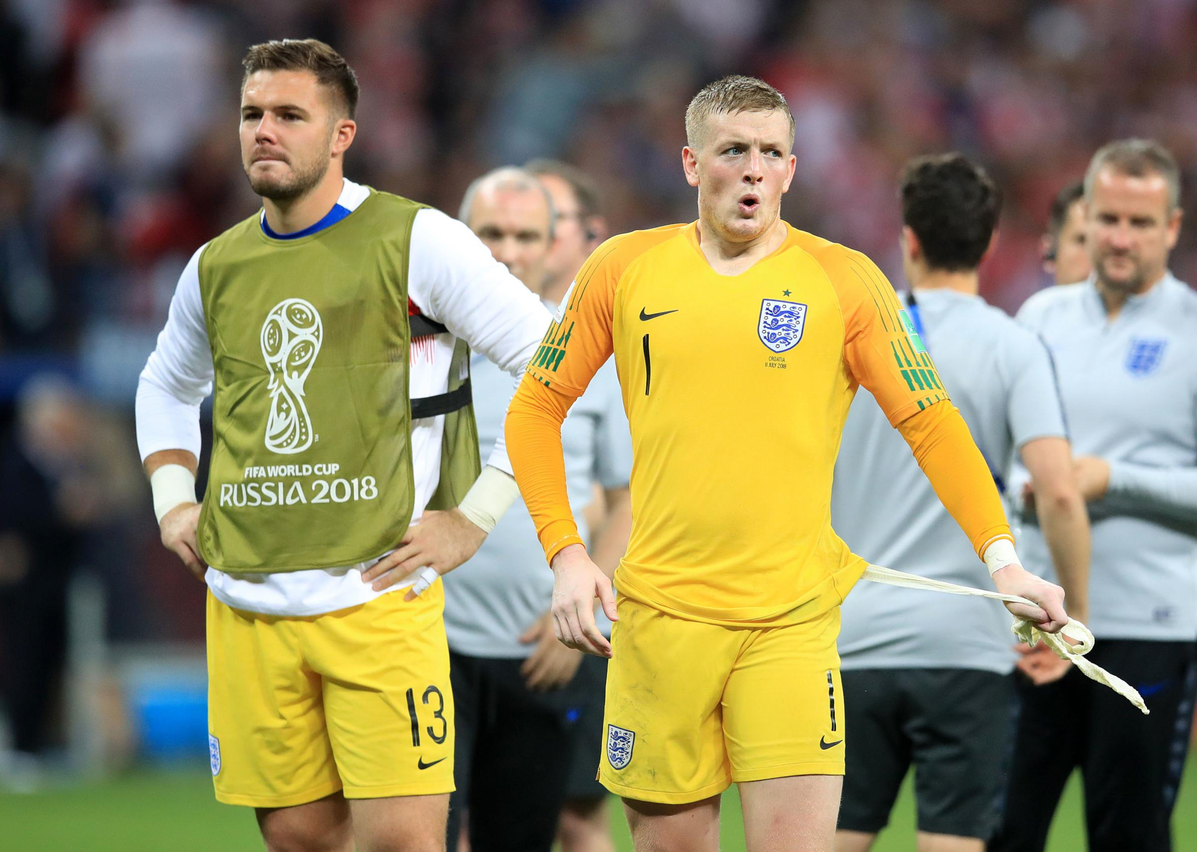 England goalkeeper Jordan Pickford (right) and Jack Butland come to terms with defeat  Picture: Adam Davy/PA Wire