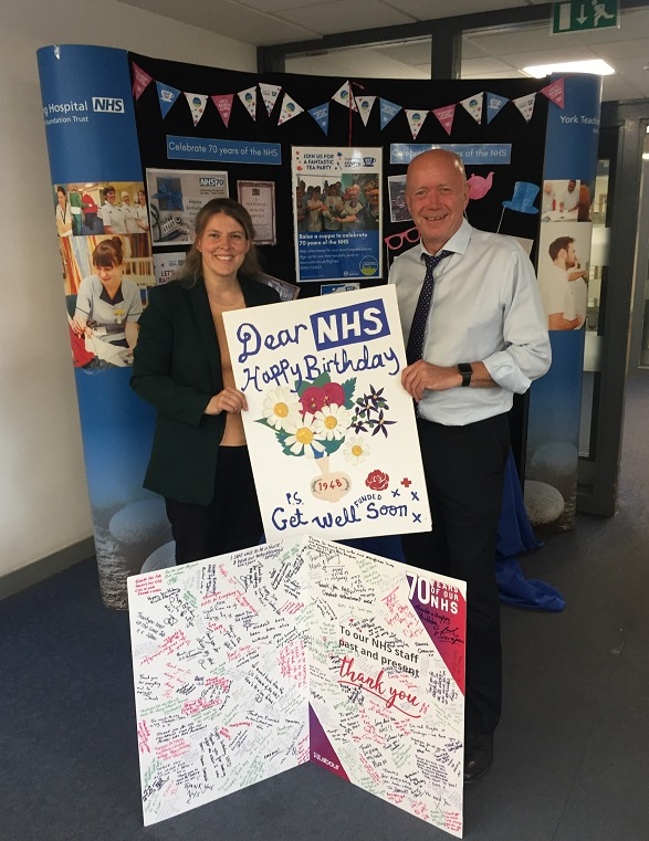 York Central MP Rachael Maskell presents NHS 70th birthday cards to Mike Proctor