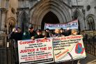 Julie Hambleton and other campaigners demonstrating outside the Royal Courts of Justice in February