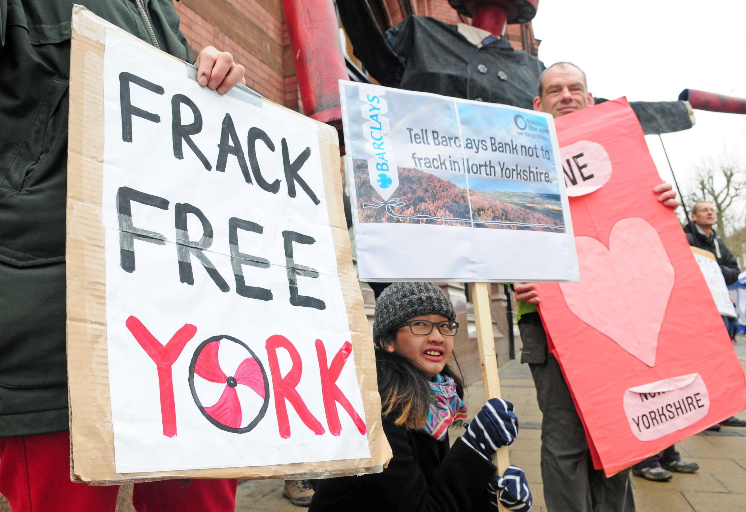 Anti-fracking protesters pictured outside Barclays bank in York city centre in 2015.     Picture: Anthony Chappel-Ross