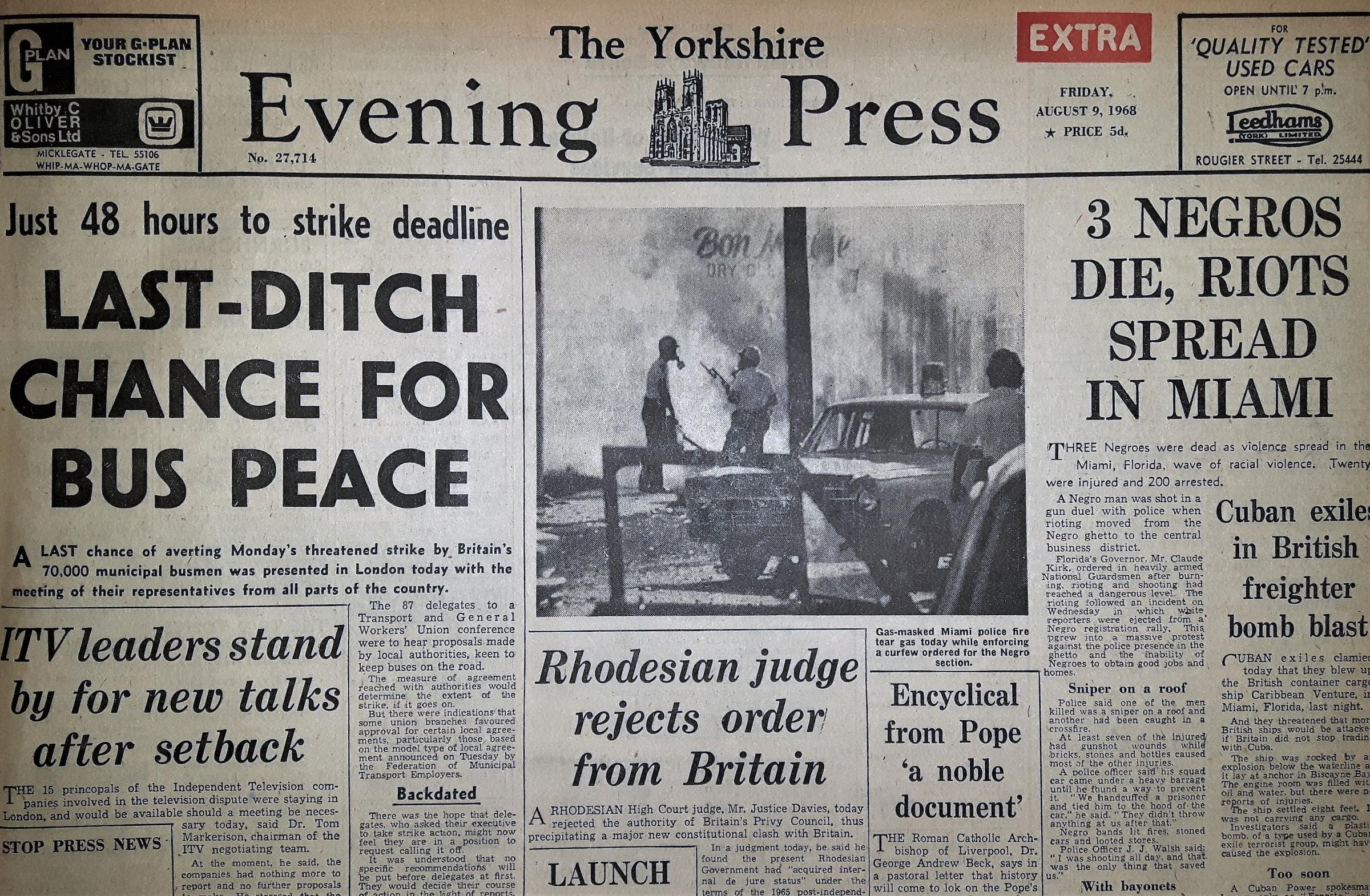 The Yorkshire Evening Press front page from August 9, 1968