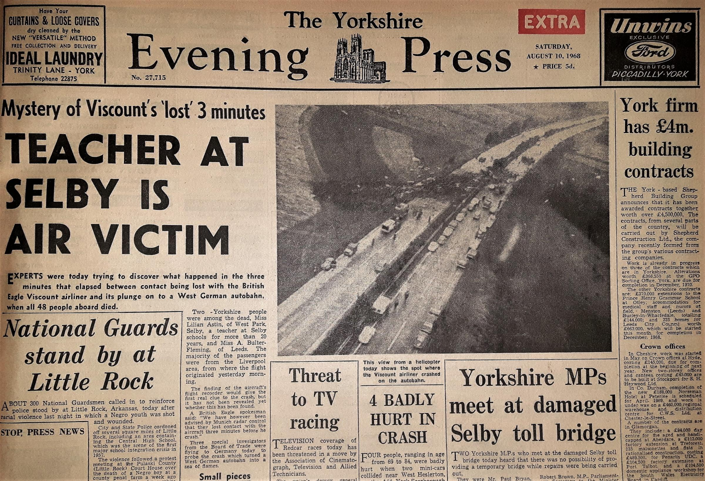 The Yorkshire Evening Press front page from August 10, 1968