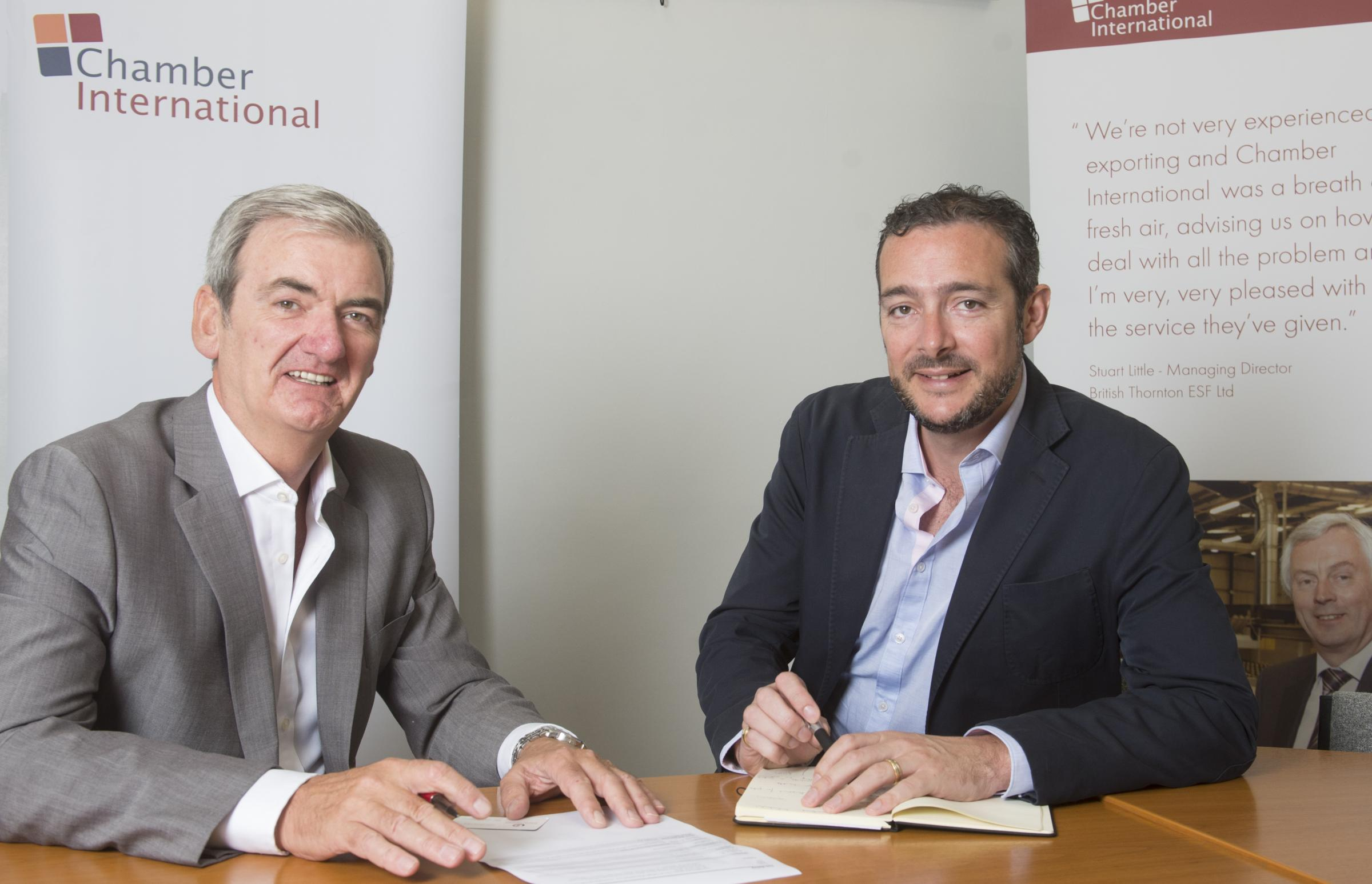 Chamber International director, Tim Bailey, (left) with British Business Centres (BCB) chief executive, Joe Hepworth, after ratifying the new working partnership.