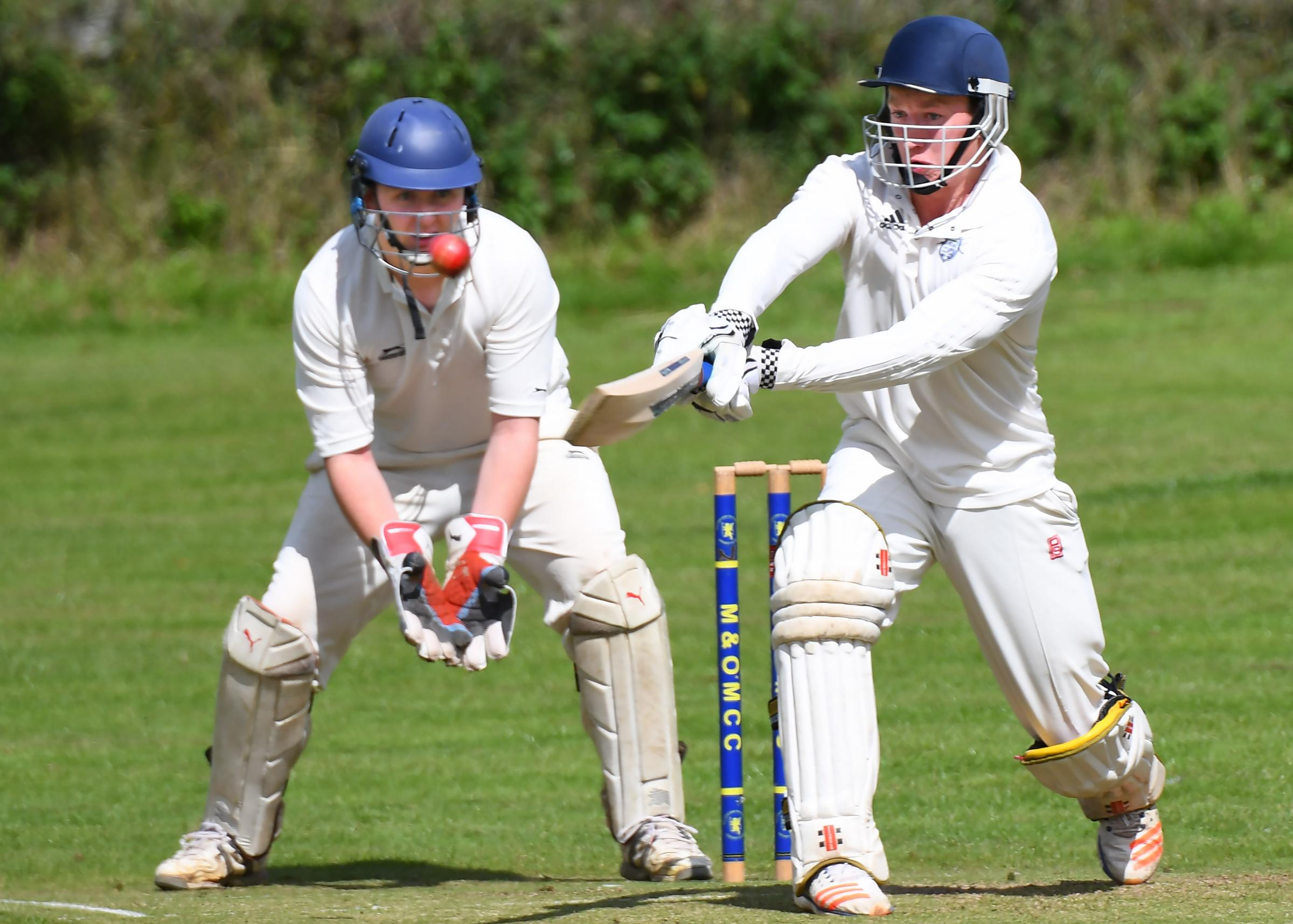 Malton and Old Malton v Thixendale. Pictured is Thixendale batsman Joe Robinson hitting a four. Picture David Harrison..