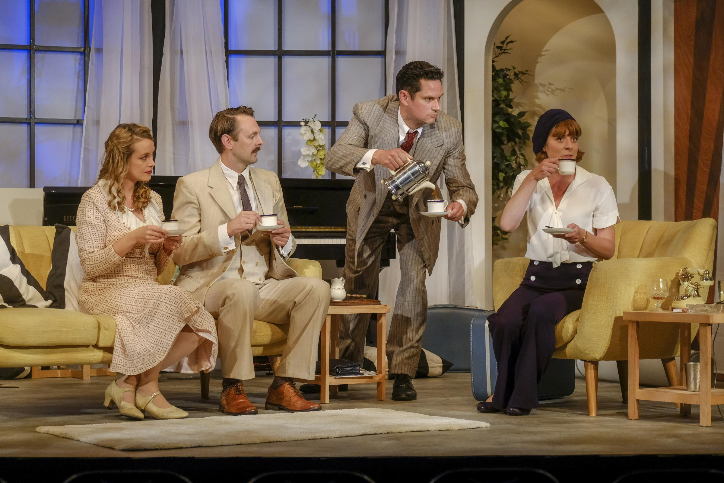 Laura McAlpine, as Sybil, Gary Summers, as Victor, Nicholas Goode, as Elyot, and Rhiannon Sommers, as Amanda, in Esk Valley Theatre's Private Lives. Picture:Tony Bartholomew