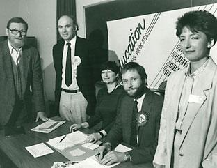An archive picture from 1987 showing an Open University meeting with two of the candidates for the York seat, Vince Cable and Hugh Bayley