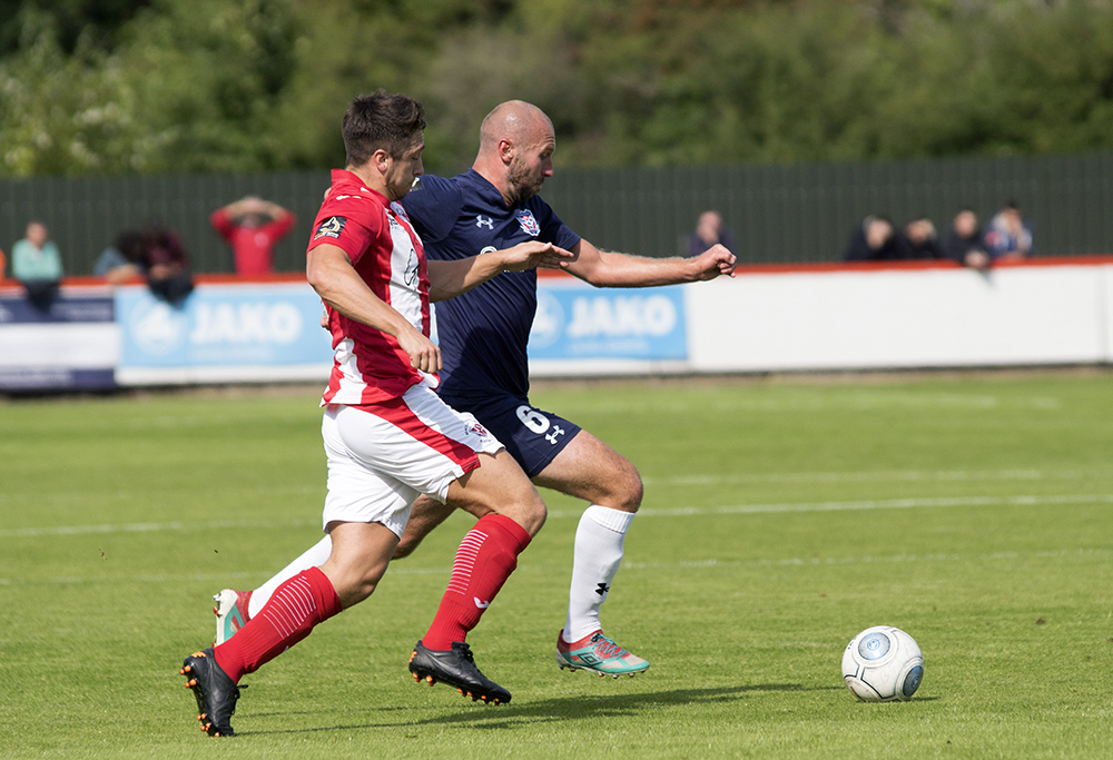 STILL SKIPPING PAST PEOPLE: Russ Penn delivered a captain's performance at Brackley despite relinquishing the York City armband to Joe Tait. Picture: Ian Parker