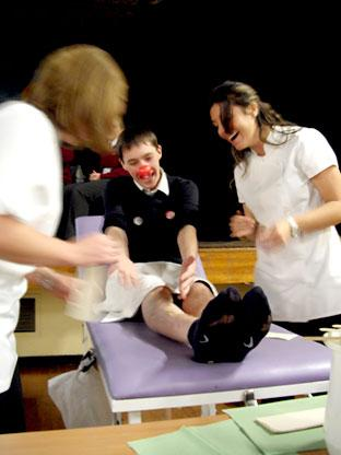 A Huntington School pupil has his legs waxed in aid of Comic Relief.