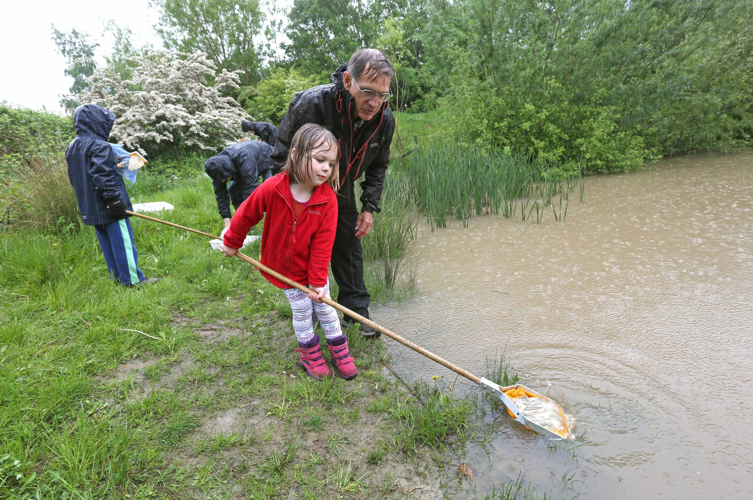 PROJECT BOOST: Rob Calvert and Vesper Young exploring the pond at Clifton Backies, which is set to get a boost from City of York Council's Forgotten Corners fund 