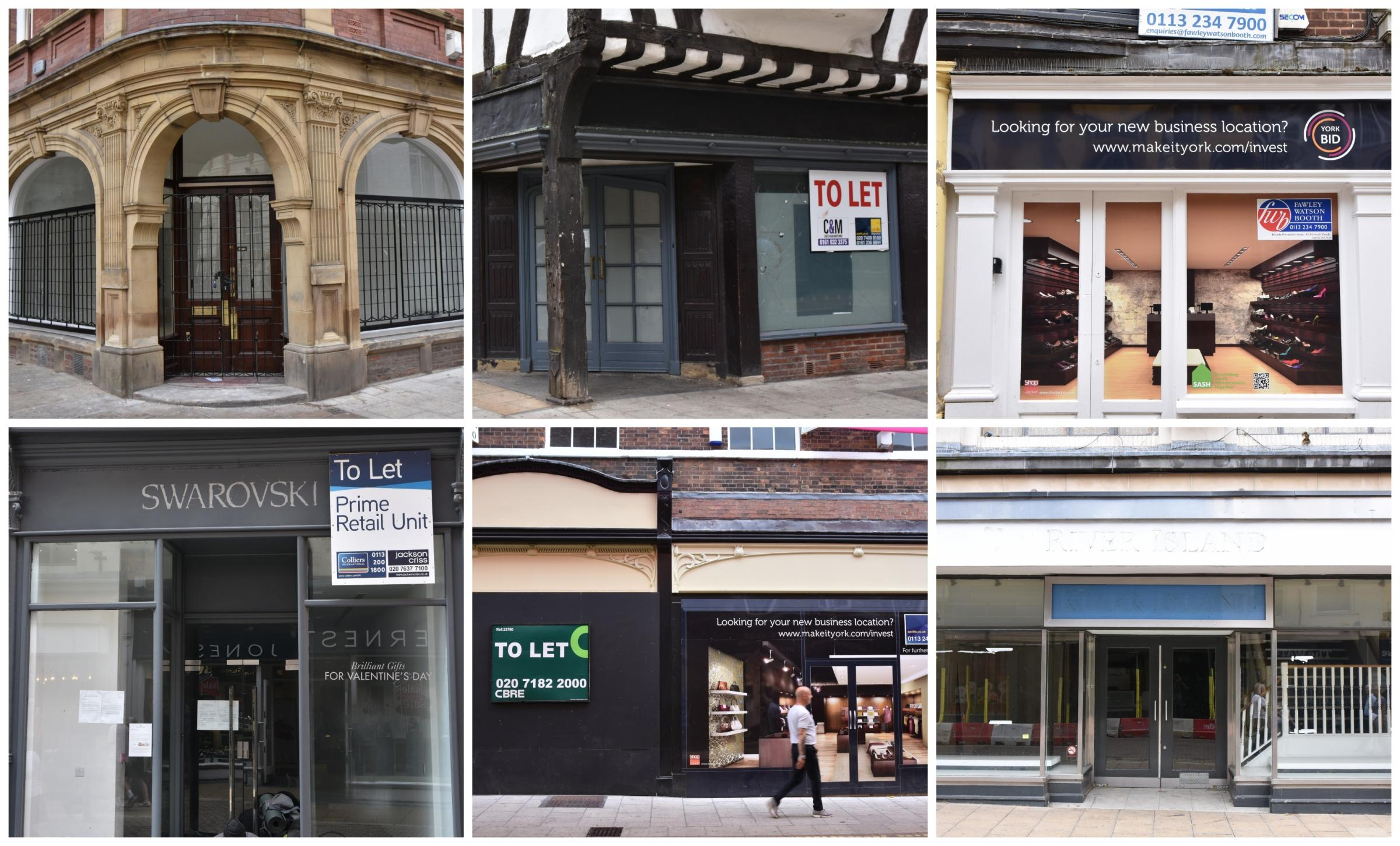 SIGN OF THE TIMES: Empty shops in York city centre
