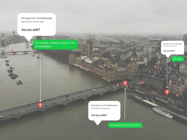SHOWCASE: A fictional image showing how Vismo 2 could track people at Westminster Bridge in London