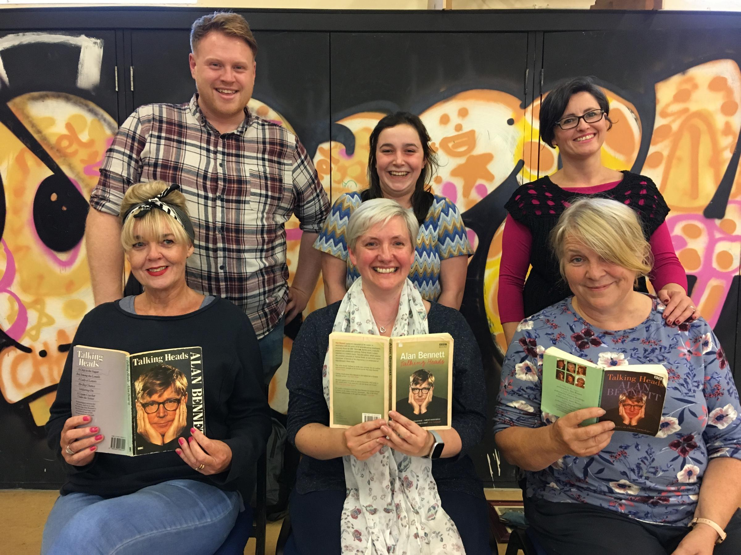 The Rowntree Players company for Talking Heads: standing, directors Nik Briggs, Imogen Wood and Angela Stone; seated, cast members Jeanette Hunter, Kathryn Addison and Helen Sally Wilson