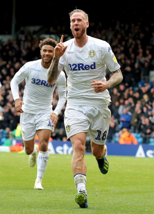 Leeds United's Pontus Jansson celebrates scoring his side's first goal of the game during the Sky Bet Championship match at Elland Road, Leeds. PRESS ASSOCIATION Photo. Picture date: Saturday October 6, 2018. See PA story SOCCER Leeds. Photo credi