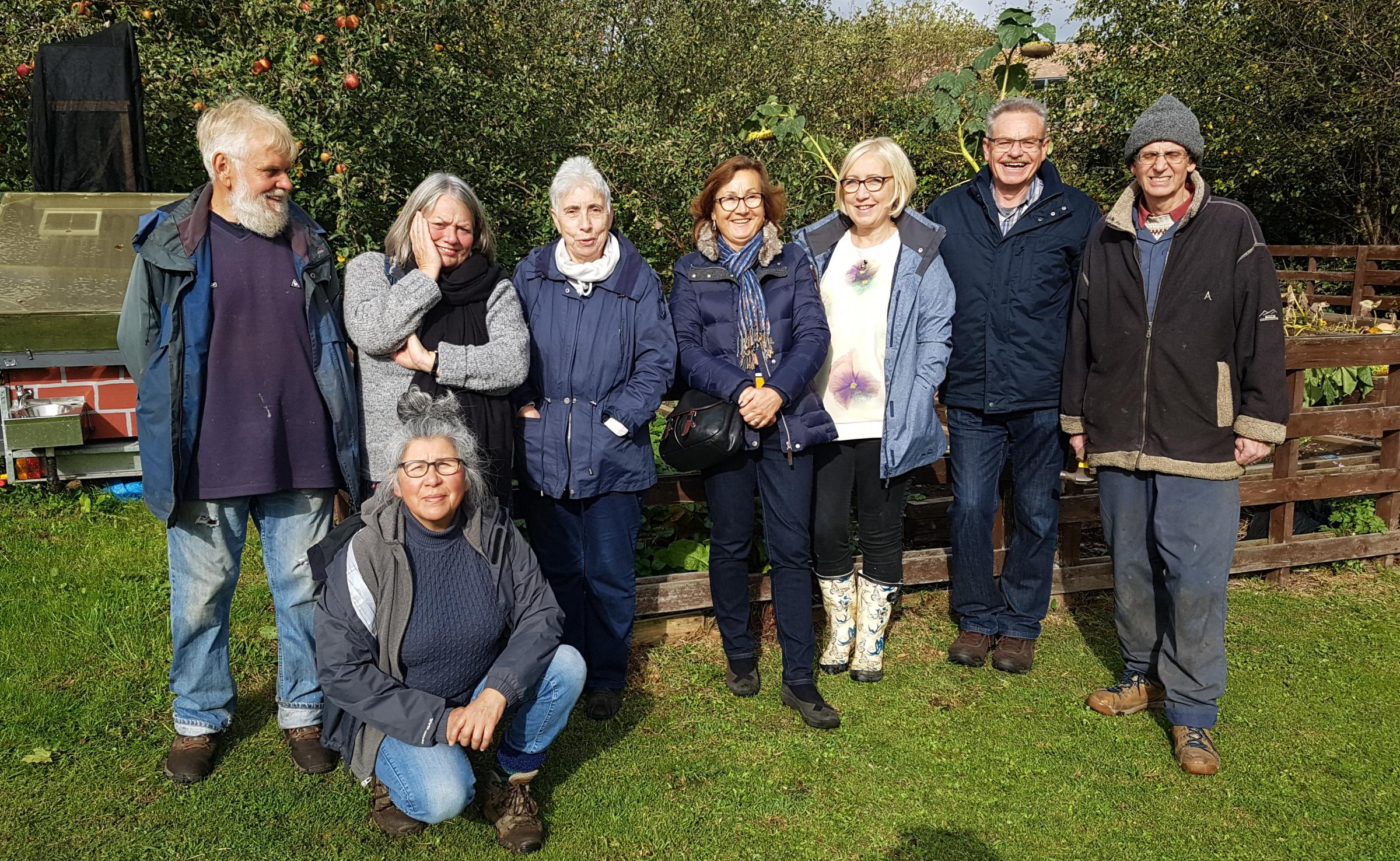 FOLLOWING THE PLOT: Members of the new Glen Allotments Association (from left): John Harper, Nora Godfrey, Efro Tooms, Celina Gee, Jane Nicholson, Les Gee, Steve Mansfield and kneeling, Mariela Munoz Del Valley