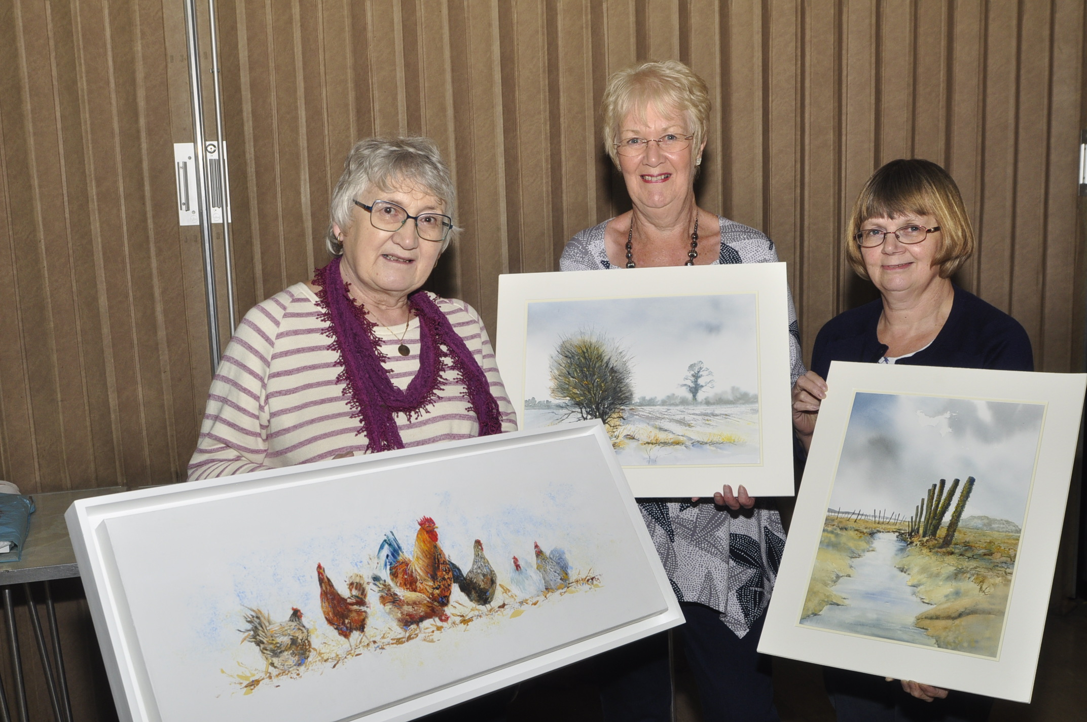 SHOWCASE: Artists Cindy Yaxley, June Elsey and Sheila Stiff with their work            Picture: Eric Foster