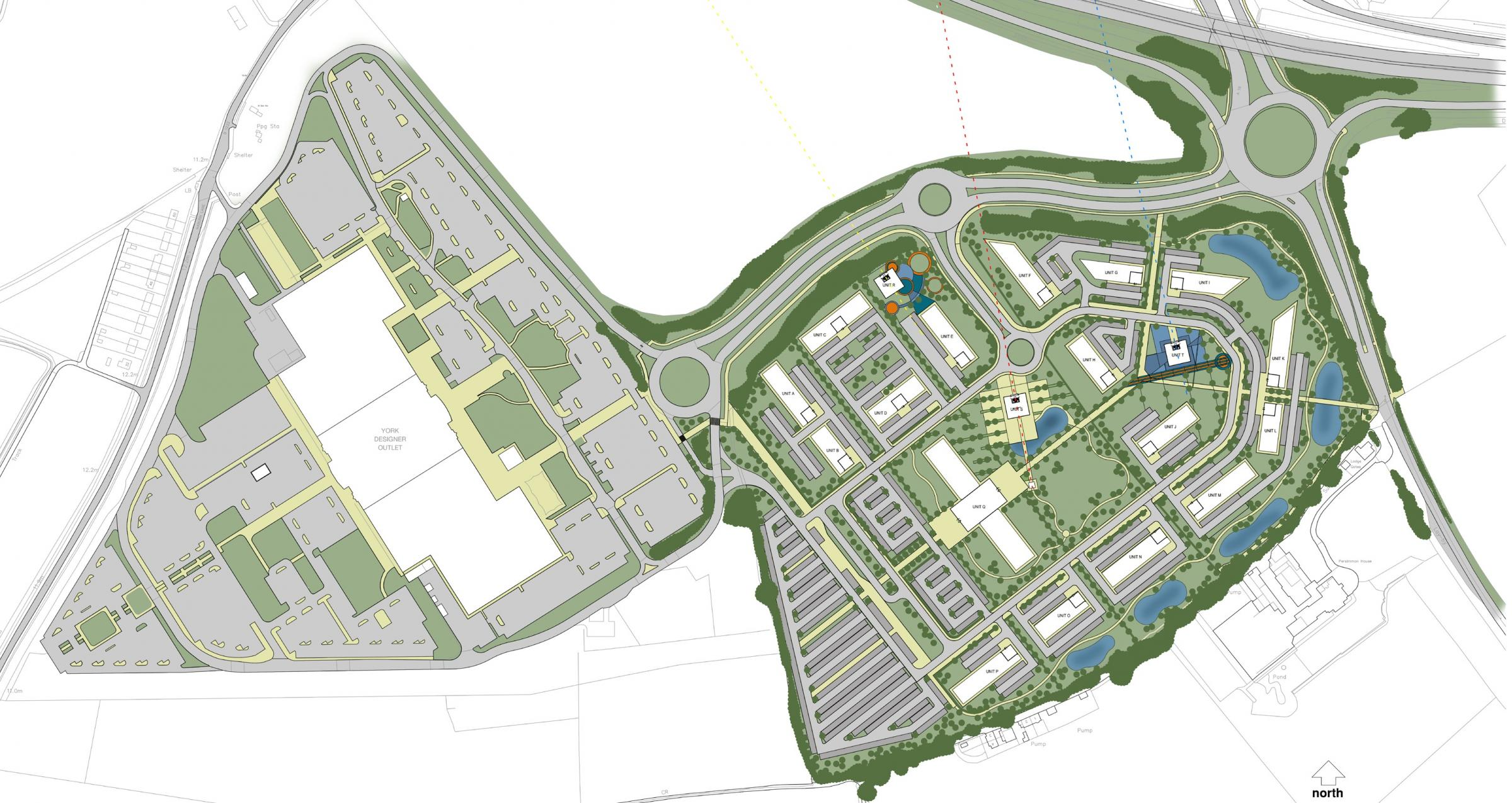 A masterplan layout of the new retail park (left)  next to Designer outlet