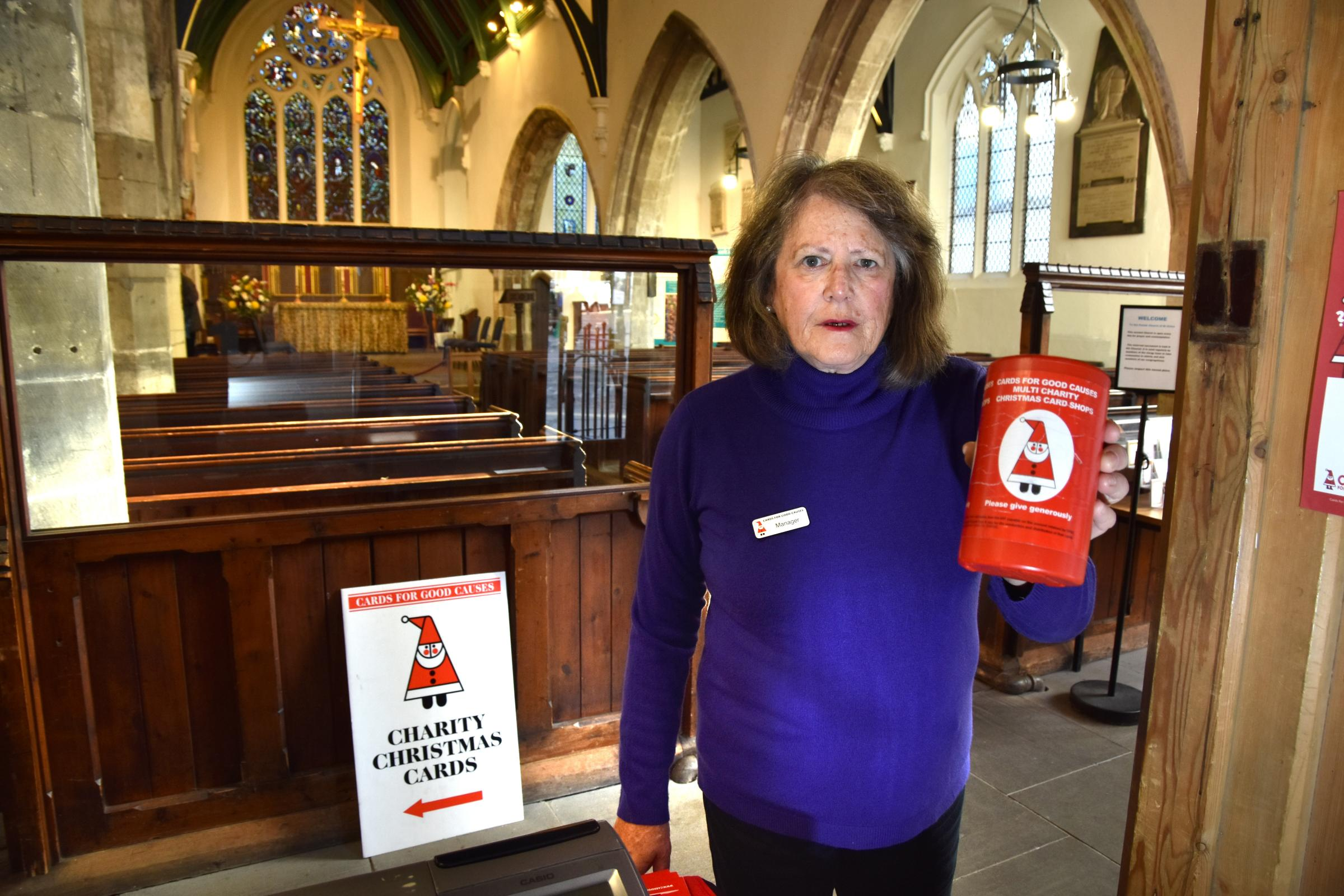 Janet Wilson, manager of the Christmas Card Shop at St Helen's Church in York where a charity box has been stolen  Picture: Frank Dwyer