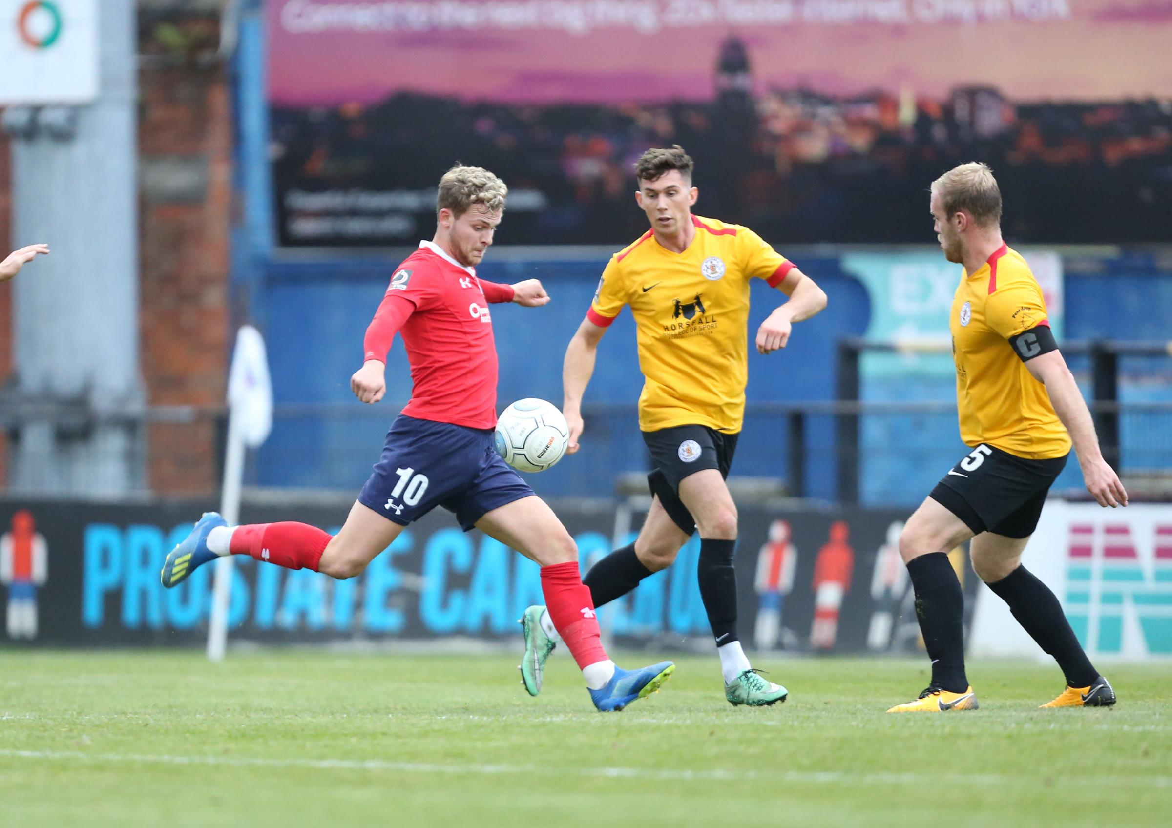 York City's Jake Wright fires wide..York City v Bradford (Park Avenue). Vanararma National League  North clash held at Bootham Crescent on the 03/11/2018.Pic by Gordon Clayton.Football  Images are covered by DataCo  & The National LeagueLicence ag