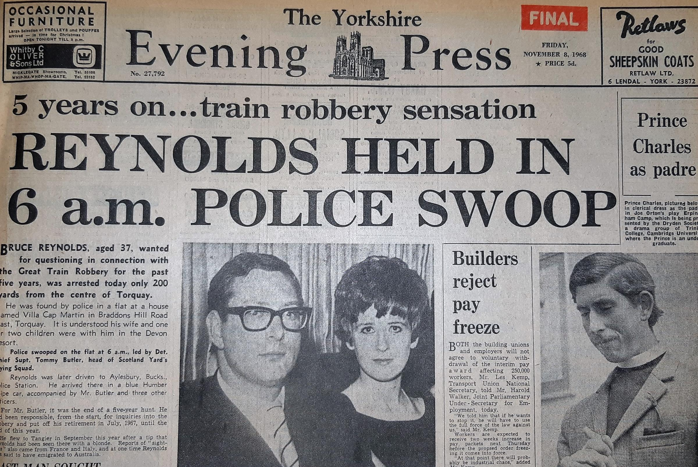The front page of the Yorkshire Evening Press from November 8, 1968